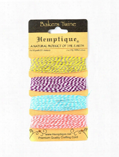 Bakers Twine Cards Cotton 9.1 M X 4 Colors Candy Lane