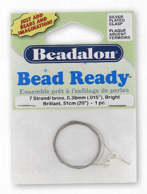 Bead Ready Wire With Lobster Clasp Bright 0.38 Mm (.015 In) 20 In.