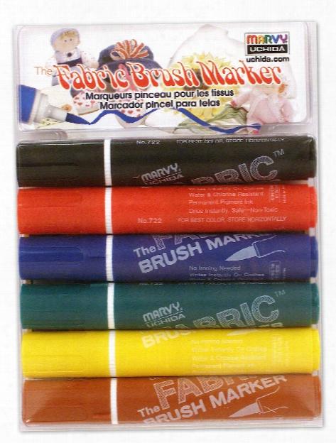 Fabric Brush Markers Set Primary Set Of 6