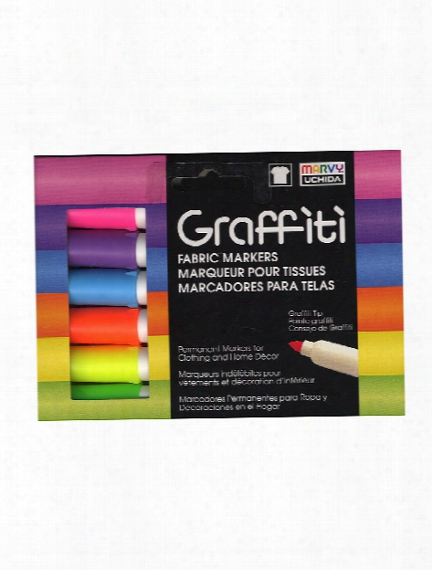 Graffiti Fabric Markers Fluorescent Set Of 6