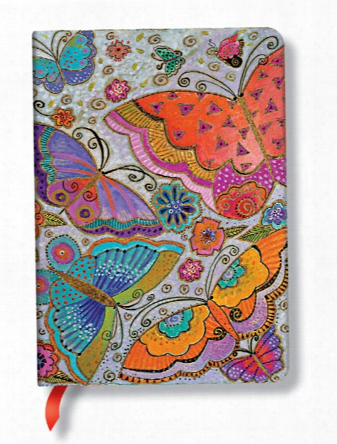 Laurel Burch Journals Blue Cats & Butterflies Midi, 5 In. X 7 In. 160 Pages, Lined