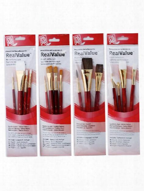 Real Value Series 9000 Red Short Handled Brush Sets 9123 Set Of 4
