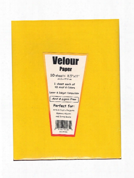 Velour Paper Assorted 8 1 2 In. X 11 In. Pack Of 10
