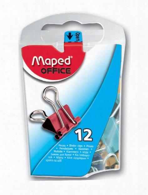Binder Clips Assorted Mini Dispenser Of 12