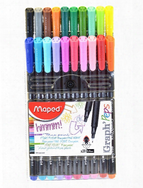 Graph'peps Felt Tipped Fine Point Pen Sets Assorted Wallet Of 20 Colors