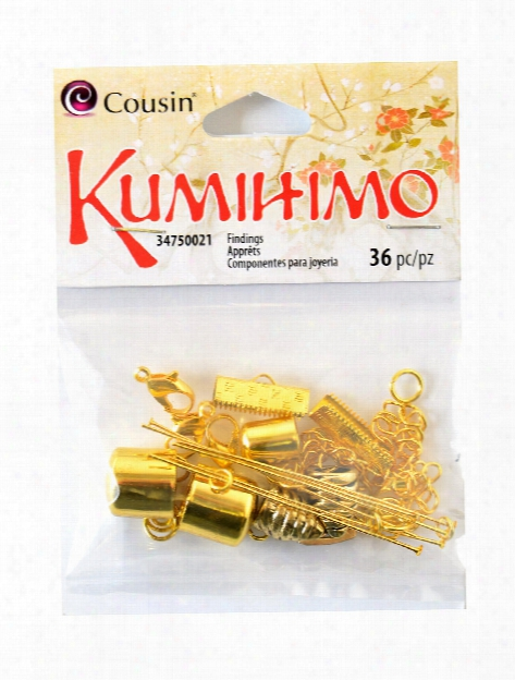 Kumihimo Assorted Metal Findings 28 Pieces Gold