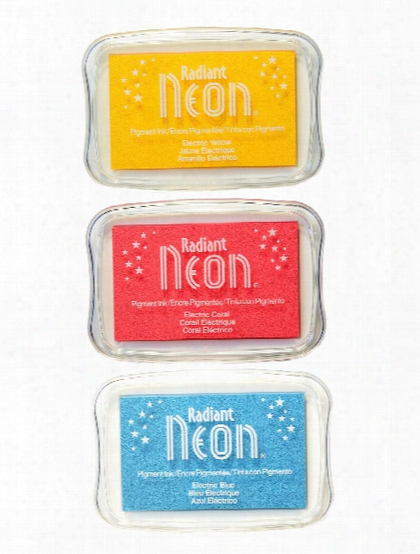 Radiant Neon Pigment Ink Pads 3.75 In. X 2.625 In. Electric Yellow