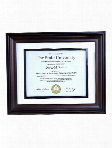 Recognition Document Frame 11 In. X 14 In. Walnut Black 8 1 2 In. X 11 In. Opening