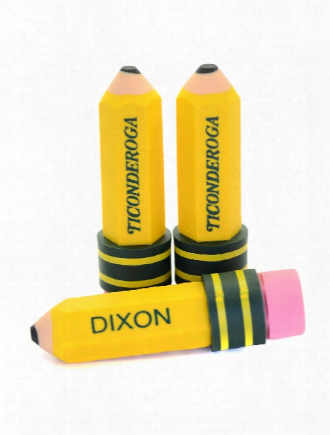 Ticonderoga Pencil Shaped Eraser Pack Of 3