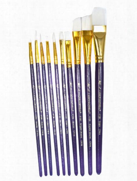 White Nylon Brush Set Assorted Set Of 10