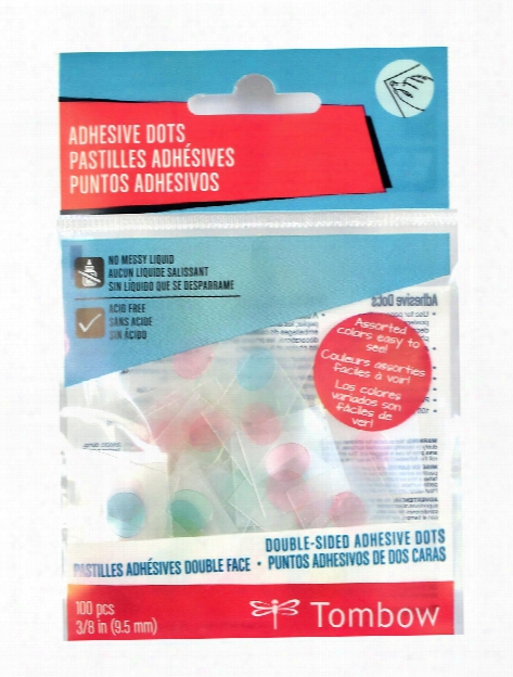 Adhesive Dots 3 8 In. Pack Of 100 Assorted