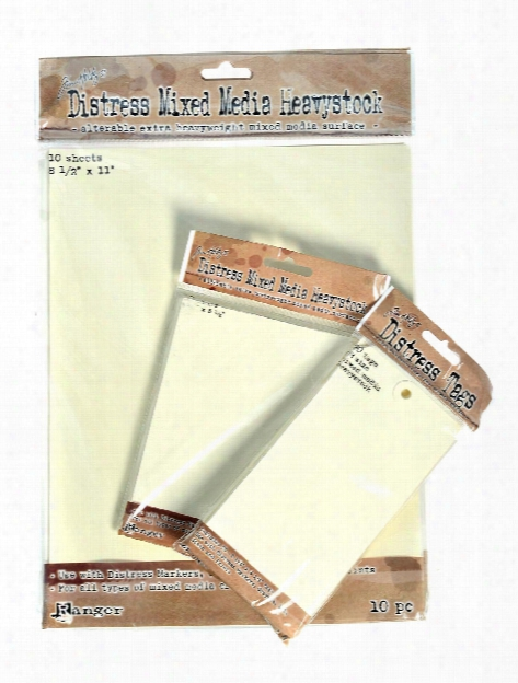 Tim Holtz Distress Mixed Media Heavystock #8 6 1  In. X 3 1 8 In. Pack Of 10 Tags
