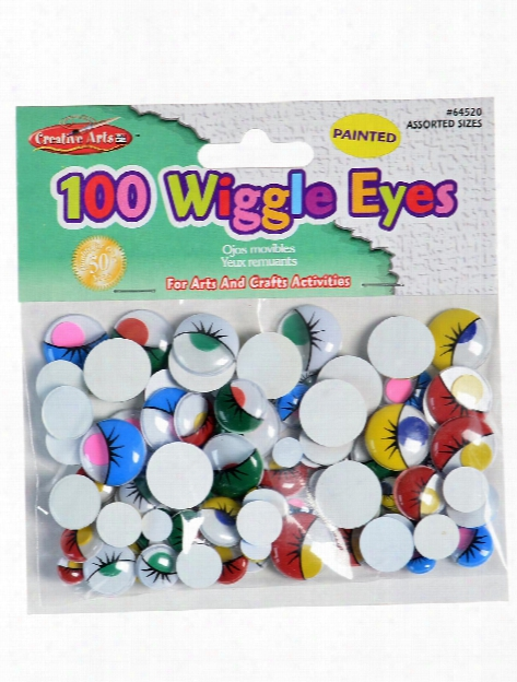 Wiggle Eyes 100 Pieces; Round Assorted Assorted