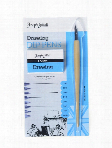 Joseph Gillott Drawing Dip Pens Set Of 8