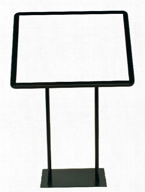 Easy-open Angled Snapframe Pedesstal Sign Stands Horizontal 11 In. Round Base, 8 1 2 In. X 11 In. Sign Silver