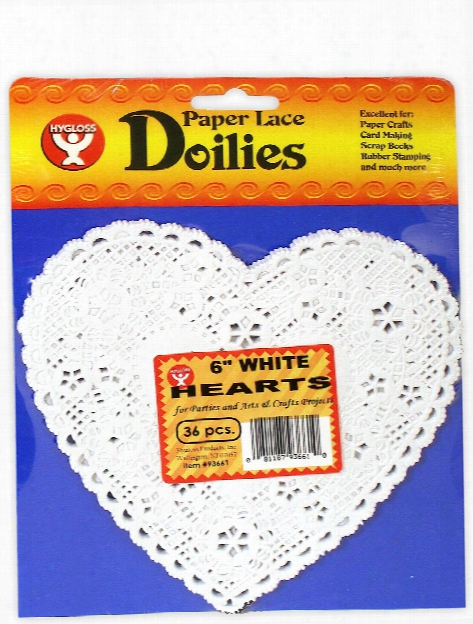 Lace Paper Doilies 6 In. Heart White Pack Of 36