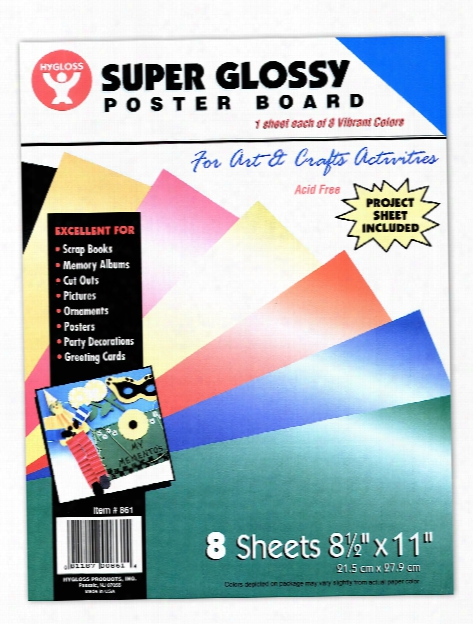 Super Glossy Poster Board 10 In. X 13 In. Assorted Pack Of 8