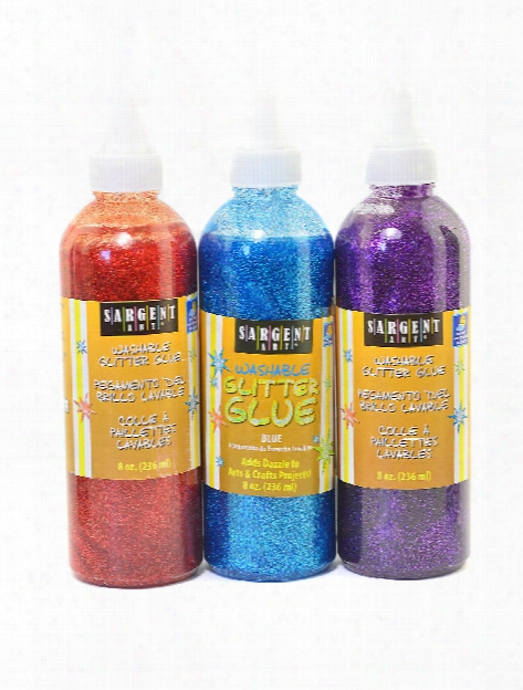 Washable Glitter Glue Silver 8 Oz.