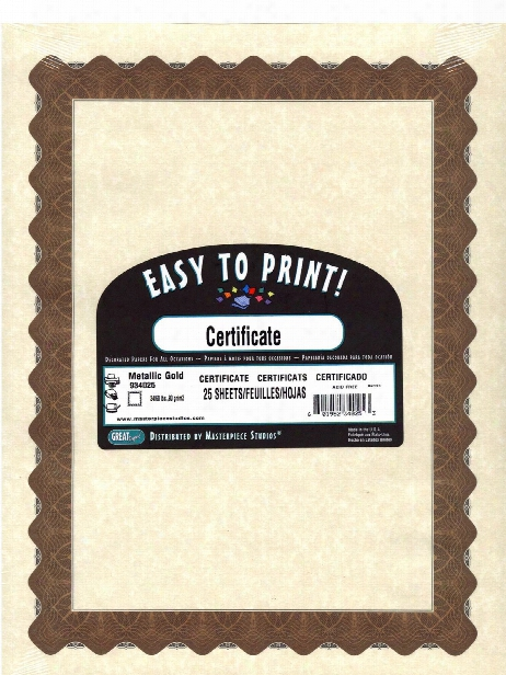 Blank Certificates Gold Border Pack Of 25