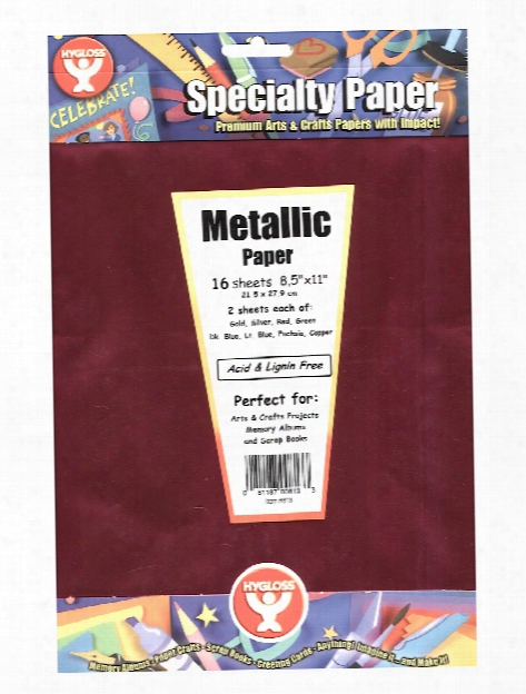 Metallic Foil Paper 8.5 In. X 11 In. Pack Of 16 16 Assorted Colors