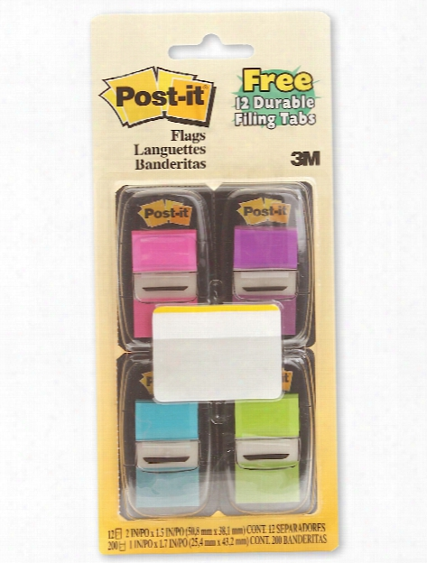 Multi-pack Filing Flags Neon Pink, Purple, Blue, Green