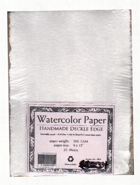 Student Grade Watercolor Paper 9 In. X 12 In. Deckle Edges Pack Of 25