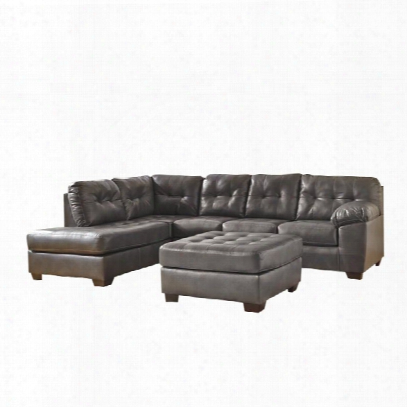 Ashley Alliston Left Chaise Leather Sectional With Ottoman In Gray