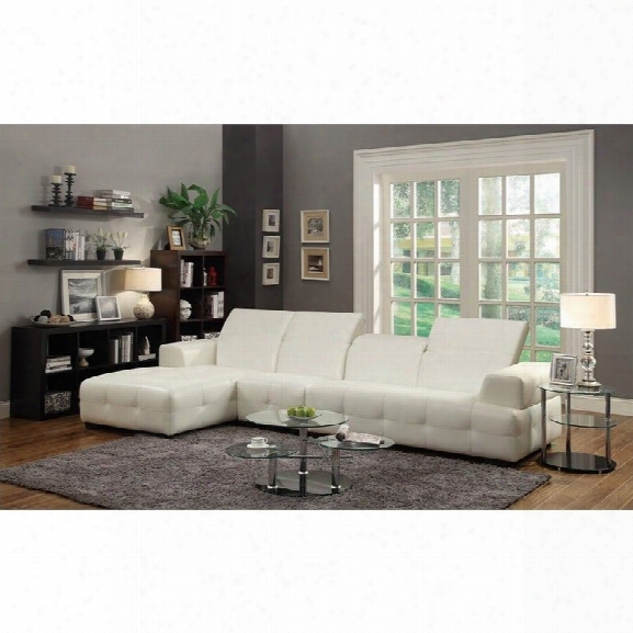 Coaster Corner Sectional With Accent Chair In White