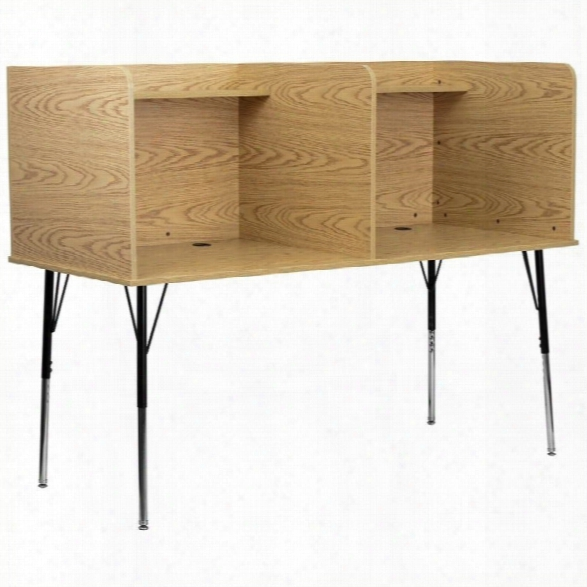 Flash Furniture Double Wide Study Carrel With Adjustable Legs In Oak
