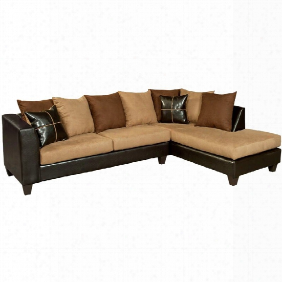 Flash Furniture Faux Leather Right Facing Sectional In Chocolate