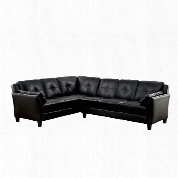 Furniture Of America Billie Fau Leather Tufted Sectional In Black