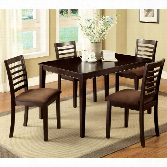 Furniture Of America Cowhan 5 Piece Dining Set In Espresso