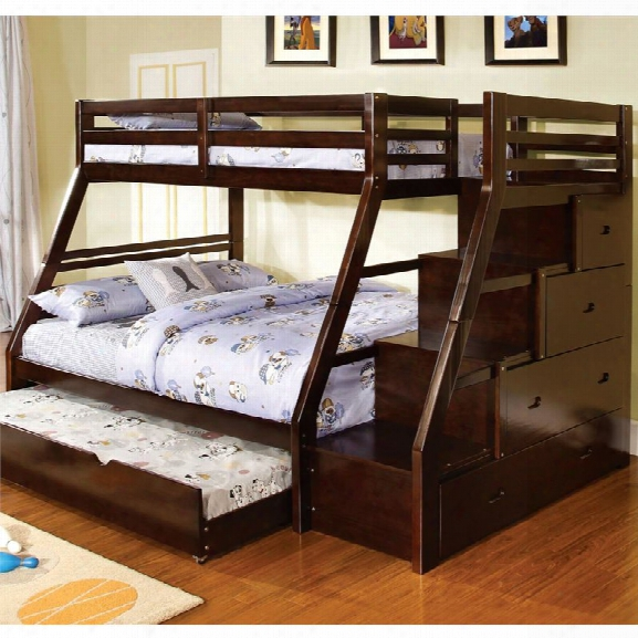 Furniture Of America Dannick Twin Over Full Storage Bunk Bed In Walnut