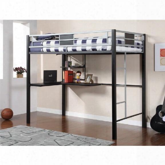 Furniture Of America Egon Twin Metal Loft Bed With Desk In Black