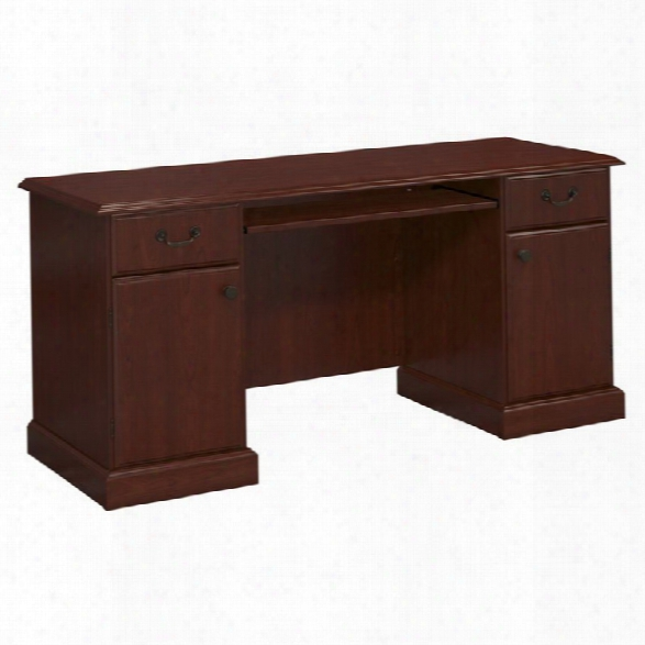 Kathy Ireland By Bush Bennington Pedestal Desk In Harvest Cherry