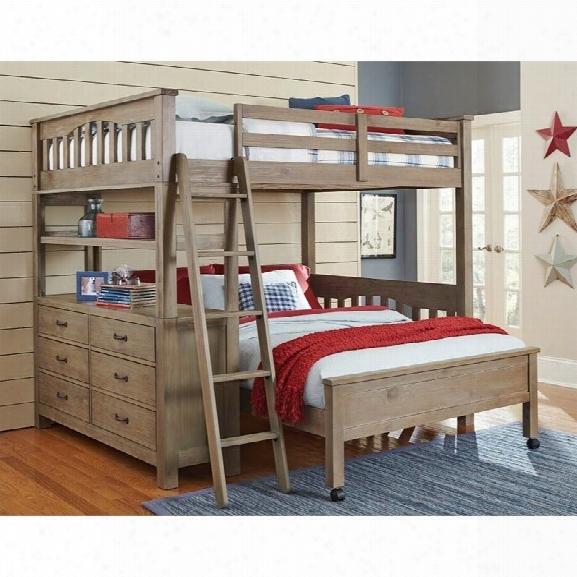 Ne Kids Highlands Full Loft Bed With Full Lower Bed In Driftwood