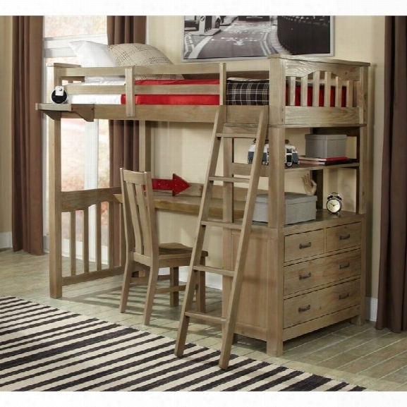 Ne Kids Highlands Twin Loft Bed With Desk In Driftwood
