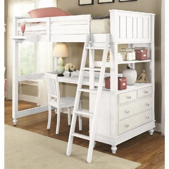 Ne Kids Lake House Twin Loft Bed With Desk And Shelf In White