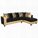 Flash Furniture Velvet Right Facing Sectional in Black and Gold