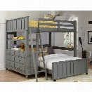 NE Kids Lake House Full Loft with Full Lower Bed and Shelf in Stone