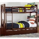 NE Kids Pulse Twin Over Twin Slat Bunk Bed with Trundle in Chocolate