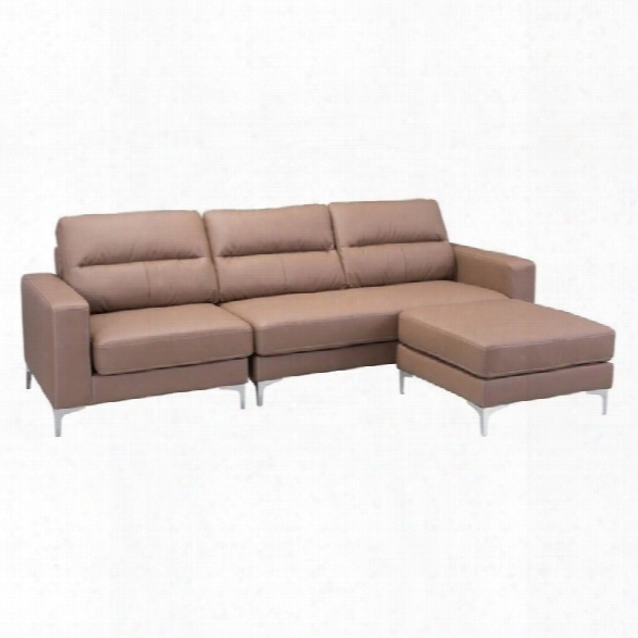 Zuo Versa Faux Leather Sectional In Brown