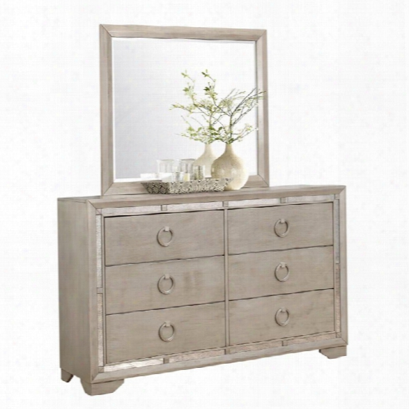 Abbyson Living Grayson Mirrored 6 Drawer Dresser With Mirror In Gray