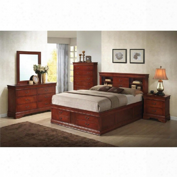Coaster Louis Philippe 5 Piece King Storage Bedroomset In Red Brown