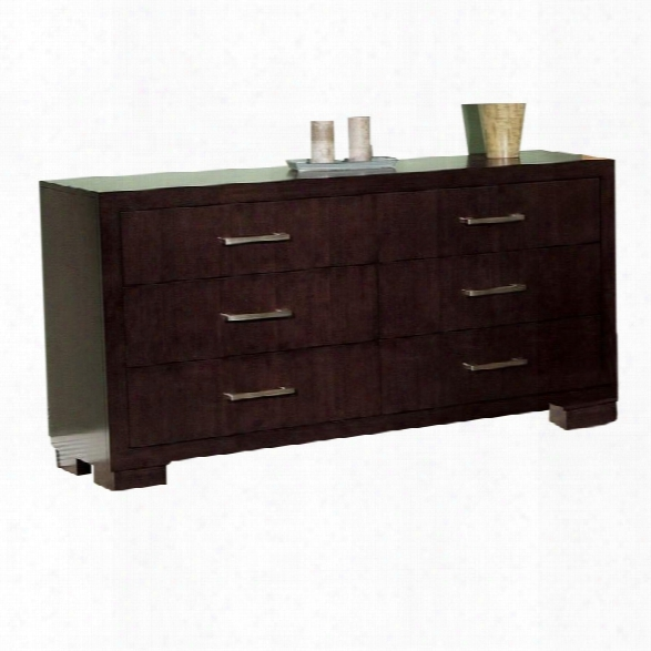 Coaster Six Drawer Dresser In Light Cappuccino Finish