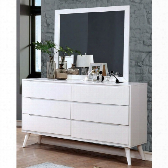 Furniture Of America Farrah Dresser With Square Mirror In White