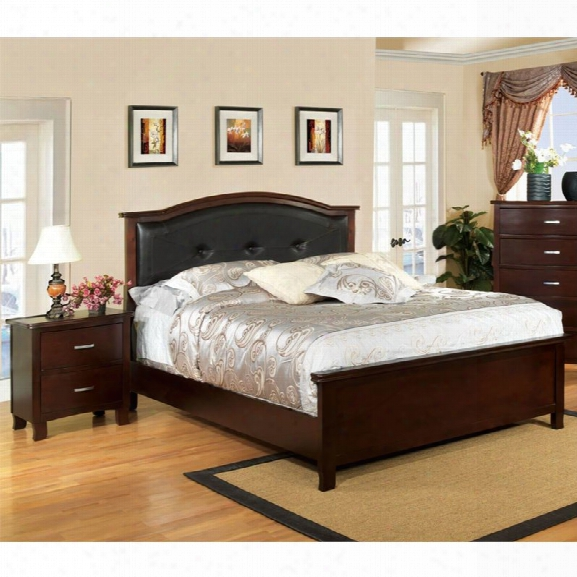 Furniture Of America Pruden 2 Piece King Panel Bedroom Set In Brown Cherry