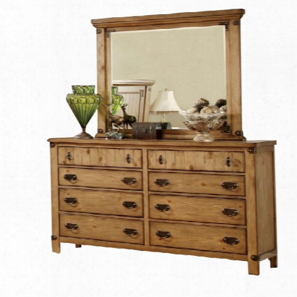 Furniture Of America Sesco 8 Drawer Dresser And Mirror Set In Pine