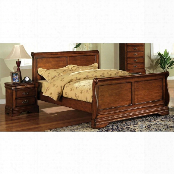 Furniture Of America Wade 2 Piece Queen Sleigh Bedroom Set In Dark Oak