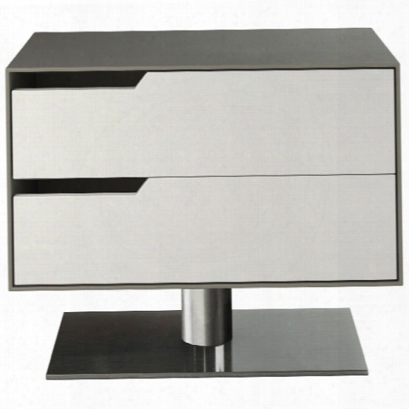 Modloft Park 2 Drawer Nightstand In Steeple Gray And White